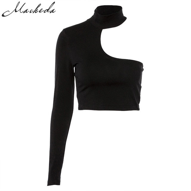 15257ae5003 2018 Black White Crop Top One Shoulder Strapless Long Sleeve T-Shirt Women S  Solid Tops