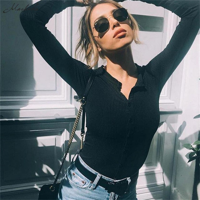 24a6cfb3cca Bodysuit Women Slim Solid Knitted Bodysuits O Neck Button Jumpsuits Rompers  Long Sleeve Bodycon Ladies 2018