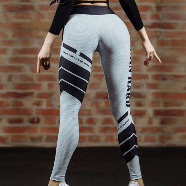 70216a172c Mesh Pattern Print Leggings Women Fitness Legging Sporting Workout Leggins  Elastic Slim Black White Pants Trousers