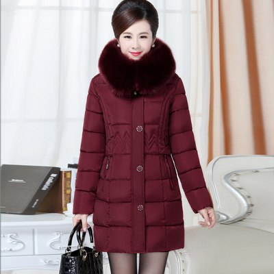 2ac0553967a Middle-aged Winter Jacket Warm Women Parka Cotton Padded Coat Fashion Fur  Collar Hooded Long