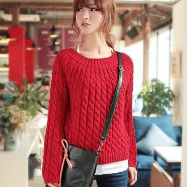 5d1a7ba5f Woman Thick Solid Sweaters Autumn Long Sleeve Head Bottoming Sweater Short  Loose Retro Twist Warm Pullover