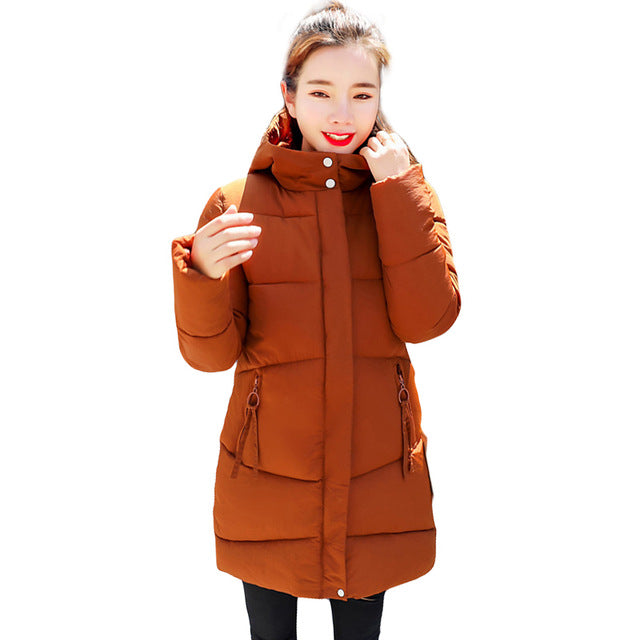 1c5452235 New 2018 Fashion Winter Jacket Women Cotton Coat Hooded Down Parkas Female  Long Jackets Thick Warm Outerwear chaqueta mujer