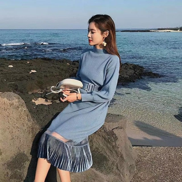 687a4202fd Autumn Women'S Knit Dress Pullover Long Sweater Fishtail Over The Knees  Solid Color Femme Loose Patchwork