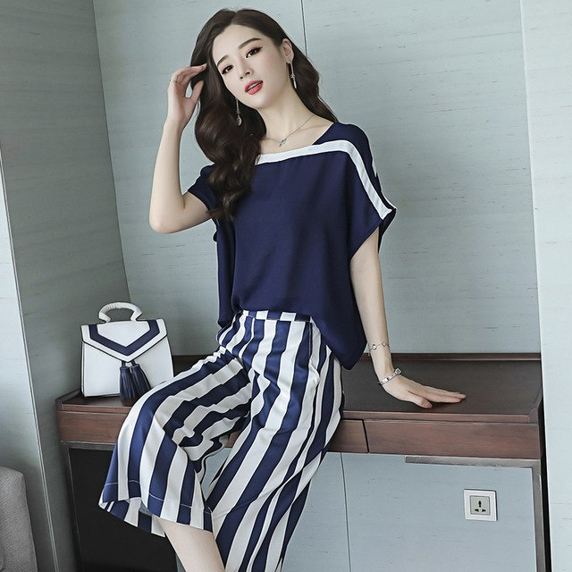 c1076cf878a Jumpsuit Women Zipper Detachable Chiffon Pants Elastic Waist Striped Loose  Top Overalls Rompers Macacao S87492