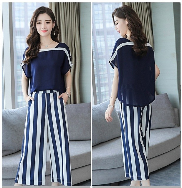 9b49f5af314 Jumpsuit Women Zipper Detachable Chiffon Pants Elastic Waist Striped Loose  Top Overalls Rompers Macacao S87492