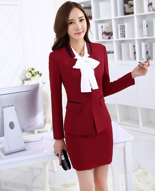 e8399b351f916 New Uniform Design 2015 Autumn Winter Long Sleeve Professional Business  Women Suits Tops And Skirt Ladies Office Blazers Outfits