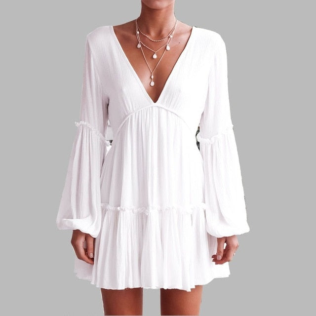 f8bc5662a07322 White Dress Women Deep V-Neck Elastic On Chest Empire Long Sleeve Lantern  Mini Dress Backless Ball Gown Vestidos D89491