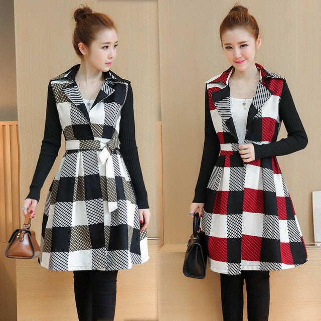 1f865f6bdf New Winter Korean Fashion Women Grid Trench Loose Dress Coat Long Sleeve  Trench Coats Plus Size With Belt Plaid Clothes Outfit