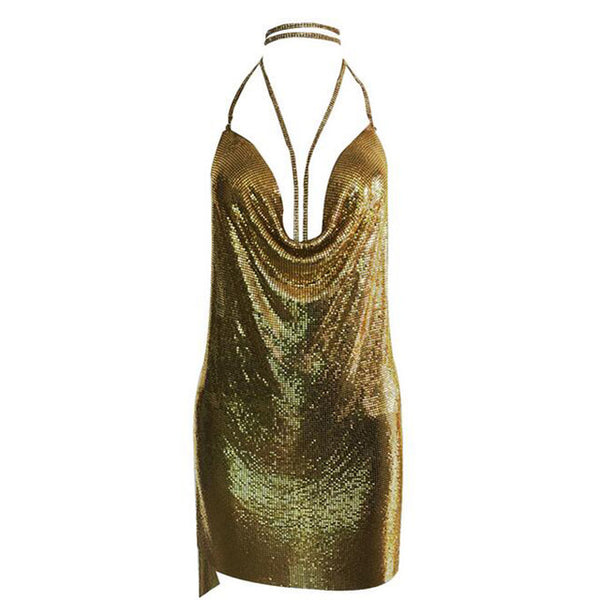 8436f02f New arrival celebrity sexy dress sparkly halter backless metal dresses -  Hdy Apparel