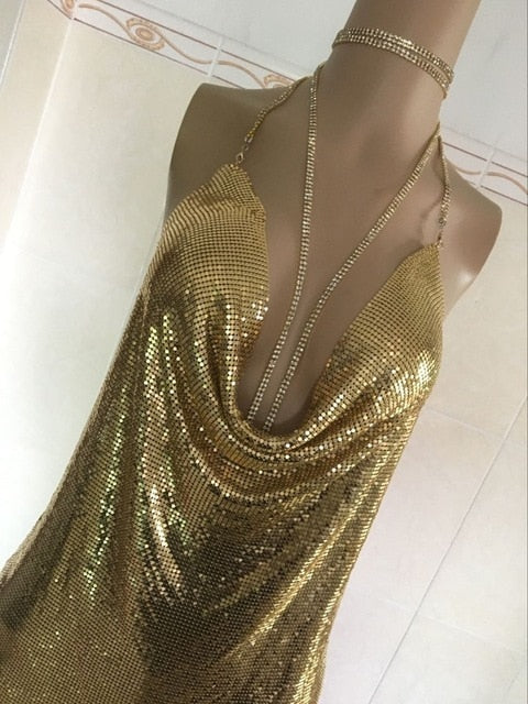 40c846a2 New arrival celebrity sexy dress sparkly halter backless metal dresses  Kendall Jenner's 21st Birthday Outfits 2018