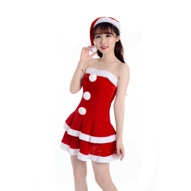 2f29a5ff6516 NewBeautiful Cheap Imported China Women Sexy Santa Christmas Costume Fancy  Dress Xmas Office Party Outfit off shoulder vestido