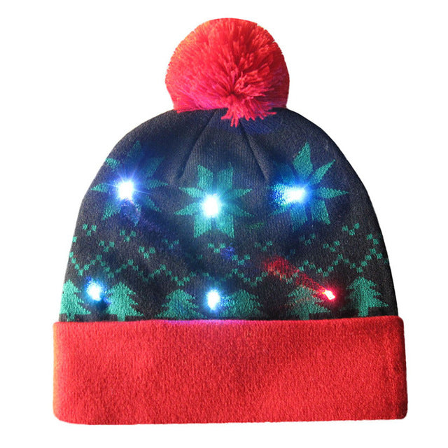 fe3195be44c07f Newly Novelty Led Light Christmas Beanies Hats Women Men Knitted Fur Ball  Hat Winter Warm Woman Hats 81109