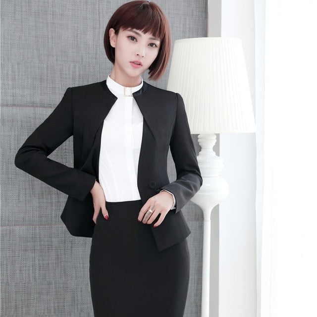 6f1aae4b7d7df Novelty Autumn Winter Formal Slim Fashion Blazers Suits With Jackets And  Skirt For Ladies Office Work Wear Business Outfits