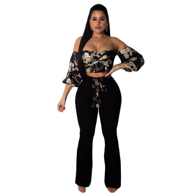 53b3cf84491 Off Shoulder Sexy 2 Piece Set Women 3 4 Sleeve Printed Crop Top and Pants  Suits Autumn Outfits White Two Piece Matching Sets