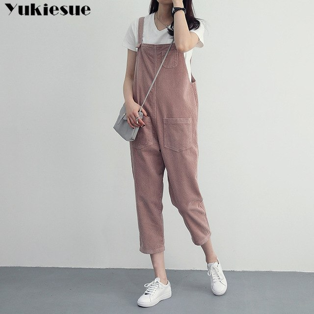 bef0eb40e29 Overalls Dungarees Oversize Loose Rompers Women Jumpsuit Strap Solid  Corduroy Tracksuit Harem Trousers Playsuit