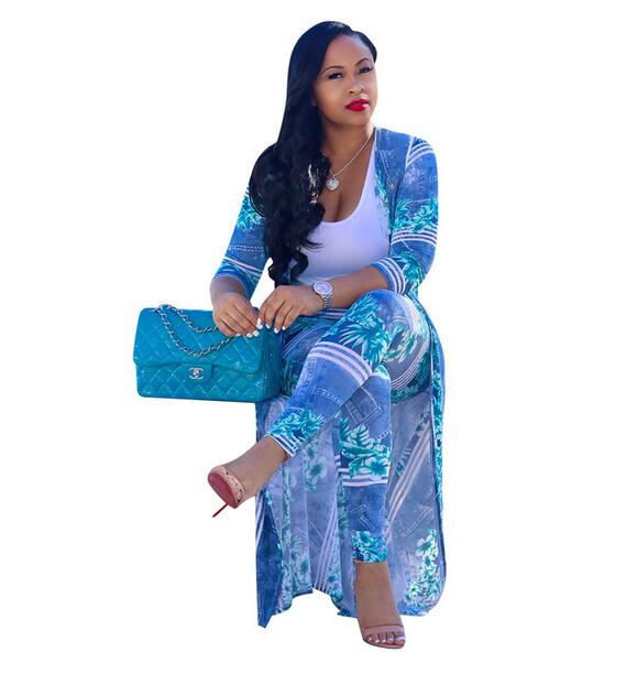 f8b9e38f0f8 PLUS SIZE Women Floral Print Pants Set Half Sleeve Long Top and Pants Two  Piece Outfits Sexy Conjuntos Mujer Dos Piezas DW290