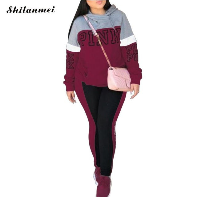 bc3d9a7a259e Pink Print 2 Piece Set Women Pant And Top Autumn XX Plus Size Casual Outfit  Sexy Sweat Suits Two Piece Sweatshirt Tracksuit
