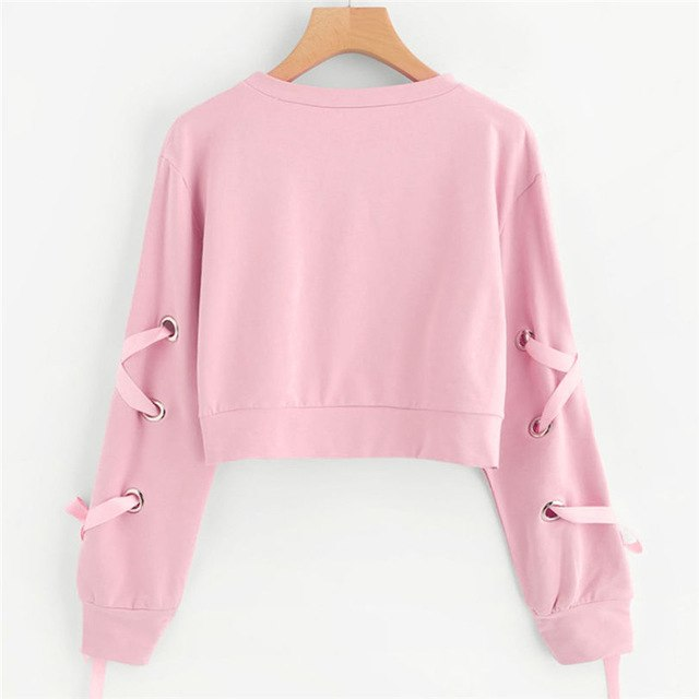 2d63156cde9 Pink Sweatershirt Oversized Hoodie Women Casual Lace Up Long Sleeve  Pullover Crop Top Solid Sweatshirt Dropshipping #F#40AT24