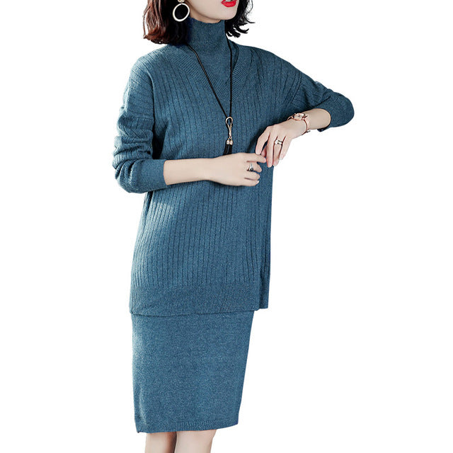 aea44db4b8a601 Plus Size 2018 New Women dress Knitting In Whole Shop Long Sweater Suits  Outfit Dresses Green