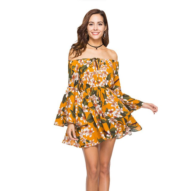 Plus Size 2Xl Summer Dress Beach Dress Printing Floral Elastic Waist ...