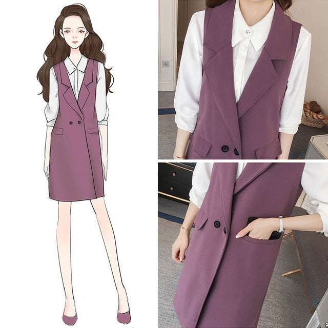 41092c174 Plus Size 3Xl Spring Autumn Long Coat Sleeveless Suit Vest Coat Women  Chaleco Mujer Ladies Tops Office Blazer Vest Jacket C5175