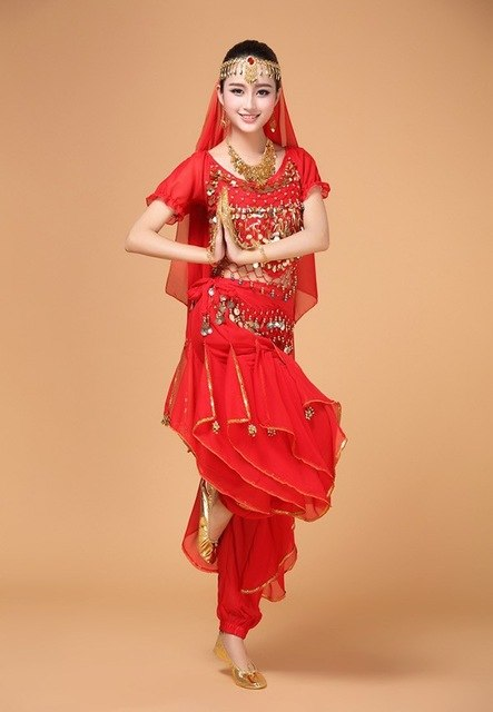 Plus Size 4Pcs Set Belly Dance Costume Bollywood Costume