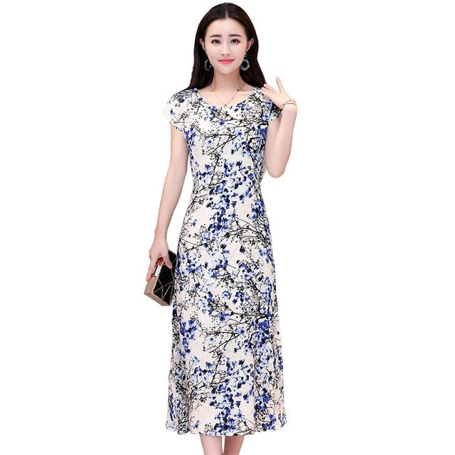 bd973e2d3bb Plus Size 6Xl Floral Print Cotton Summer Dress Maxi Bodycon Bandage Dress  Jurken Ladies Long Party Dress Vestidos C4457