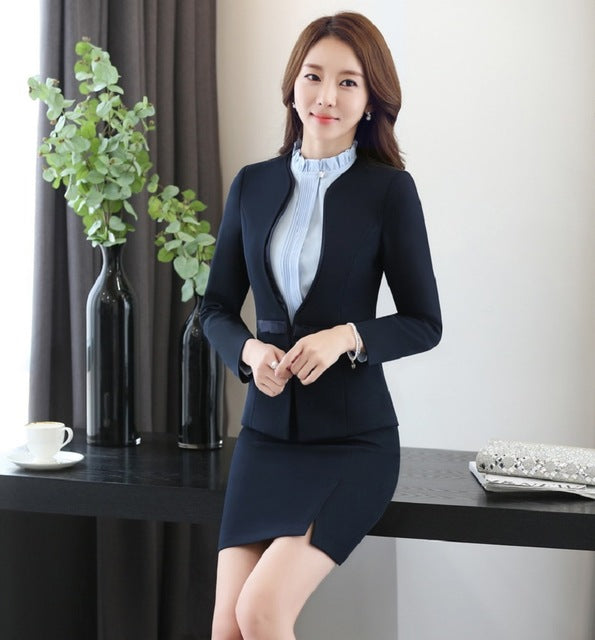 e9a8d19710 Plus Size Autumn Winter Slim Fashion Professional Work Suits With Jackets  And Skirt Ladies Office Business Women Blazers Outfits