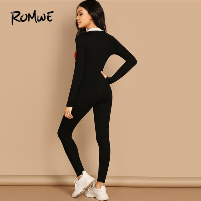 deead9c4cb2c O-Ring Zip Front Colorblock Unitard Jumpsuit 2019 Long Sleeve Stand Collar Jumpsuits  Women Spring