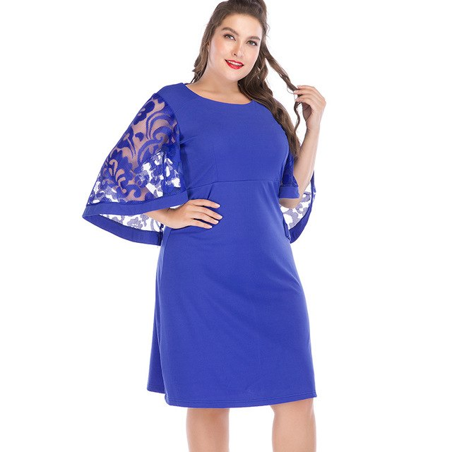 e5a7d7d130d5 Red Summer Dress Women Plus Size 6Xl A Line Robes Lace Splicing Flare Sleeve  Loose Vestido Mujer Large Tunics Party Club Dress