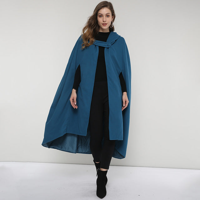e350a40223f Poncho Femme Cape Women Hooded Halloween Gown Poncho Cape Blue Chic Ladies  Stylish Gothic Hooded Wool Winterwarm Capes