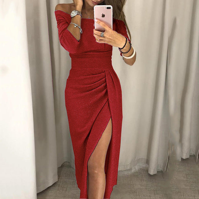 S-3Xl Plus Size Shiny Bodycon Dress Women Off Shoulder Red Bling ...