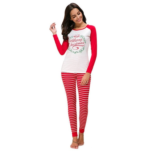 S-5Xl Plus Size 2 Pieces Christmas Suit Women Long Sleeve T Shirt Pants  Tracksuit Sleepwear Pajamas Gray Red Green Casual Sets