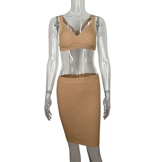 32e51299c52670 Sexy 2 Piece Bodycon Set Khaki Knitted Sweater Crop Top and Midi Skirt  Clubwear Winter Outfits Women Dress C81-AF23