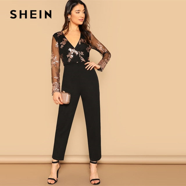 892a2ff660 Black Contrast Mesh Sleeve Sequin Detail Wrap Front Jumpsuit Women 2019  Summer Highstreet Club Solid Bodycon