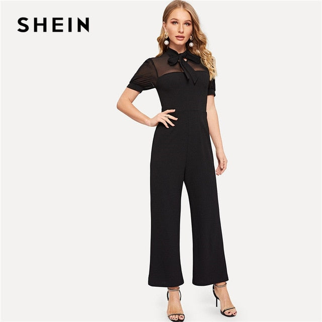 ffaf286f1bf Black Tie Neck Mesh Yoke Wide Leg Tailored Jumpsuit Spring High Waist Puff  Sleeve Stand Collar