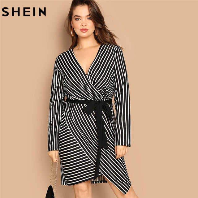 26e7a60294 Black White Plus Size Deep V Neck Striped Dress Asymmetrical Hem Women  Workwear Going Out Dresses