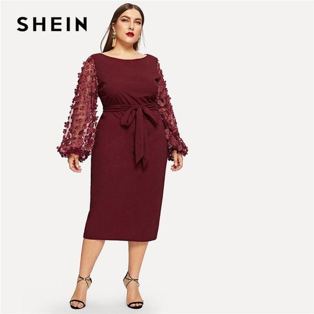 Burgundy Women Plus Size Pencil Dress With Applique Mesh Lantern Sleeve  High Street Belted Slim Fit Party Dresses