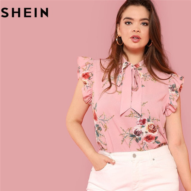 3d4afe445a Floral Print Pink Ruffle Sleeve Tie Neck Plus Size Women Blouses Summer  Office Lady Sleeveless Top