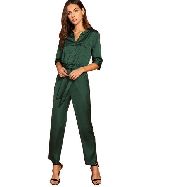 0ca30da710 Green Pocket Patched Self Belted Shirt Office Lady Solid Half Sleeve  Jumpsuit Spring Workwear Women Jumpsuits