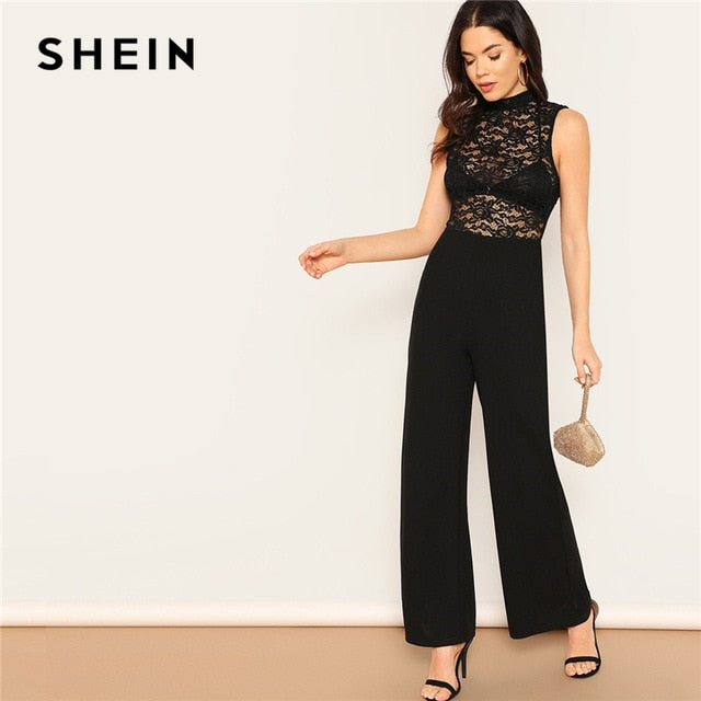 c6277b260f1 Black Lace Hollow Out Backless Mock-Neck Wide Leg Jumpsuit Women Summer  Sleeveless Mid Waist
