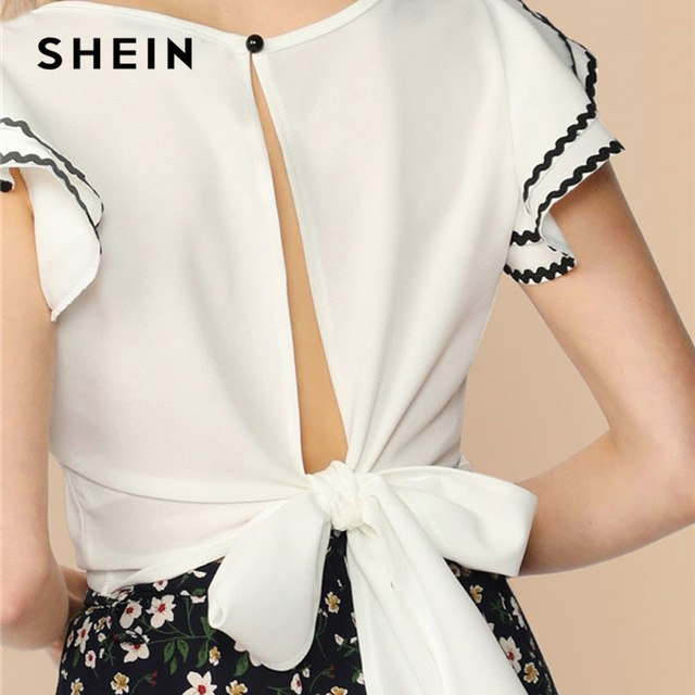 34283b38b5c White Button Front Bow Tie Hollow Out Back Wave Tape Crop Top Solid Boho  Blouse 2019 Summer Casual Women Tops Blouses