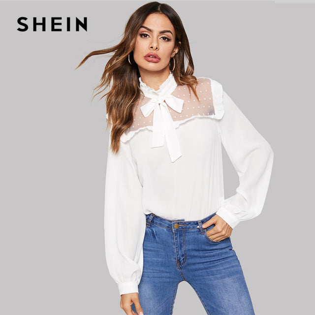 28ab230058e White Tie Neck Contrast Mesh Dot Ruffle Bishop Sleeve Top Blouse Ladies 2019  Spring Women Tops
