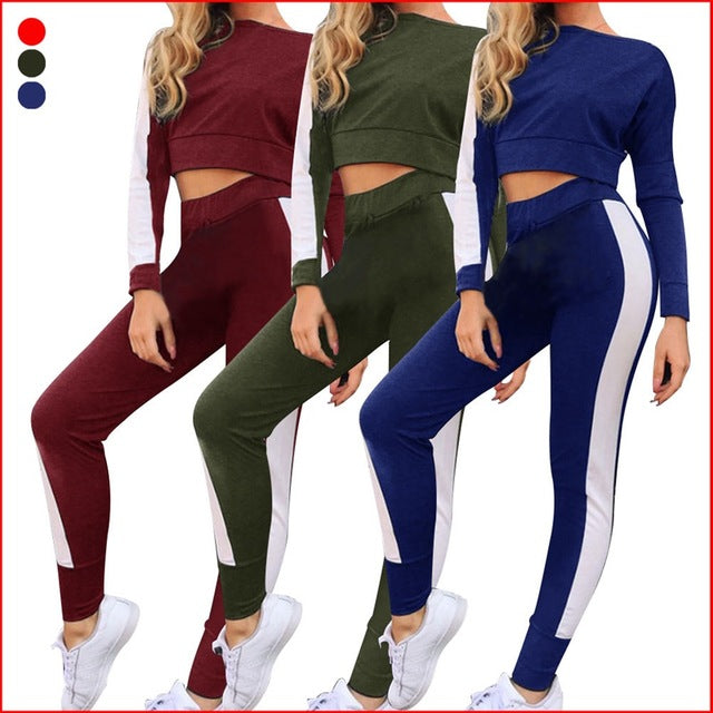 4f4f30830 Satin Two Piece Set Tracksuit For Women Elegant Top And Pants Set 2018  Womens Casual Sweat Suits Fitness Autumn Outfits