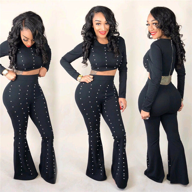 173d814ded2e Sexy 2 two piece set autumn outfits tracksuit women black long sleeve zip  top and flare pants pearls ensemble femme dos piezas
