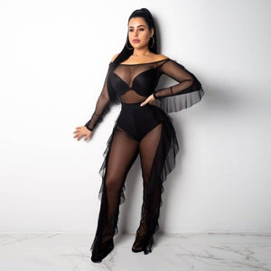 045993e85 Sexy Outfits Women 2 Piece Set Fall Ruffle Off Shoulder Tops And Sheer Mesh  Pants Suit Party Nightclub Sets