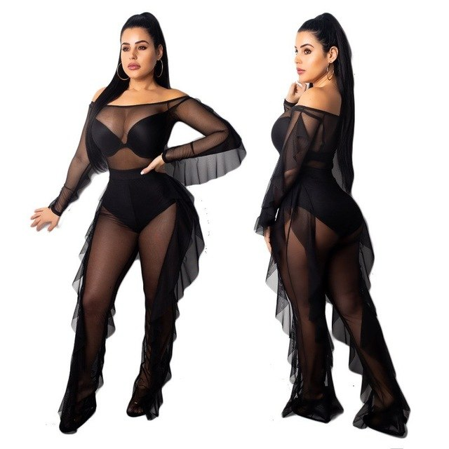 551ed3a21 Sexy Outfits Women 2 Piece Set Ruffles Fall Ruffle Off Shoulder Tops And Sheer  Mesh Pants Sets Party Nightclub Sets
