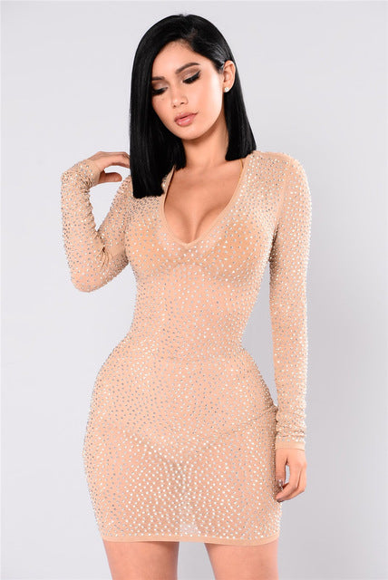 5ef7a7a085a Sexy Sheer Mesh Rhinestone Long Sleeve Bodycon Dress Women Deep V Neck See  Through Mini Club Dresses Night Party Dress Outfits