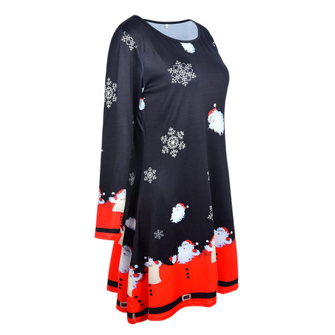 ... Sexy Women Xmas Christmas Dresses Female Long Sleeve Santa Outfit  Christmas Cozy Flared Dress Winter clothes 48a81f073