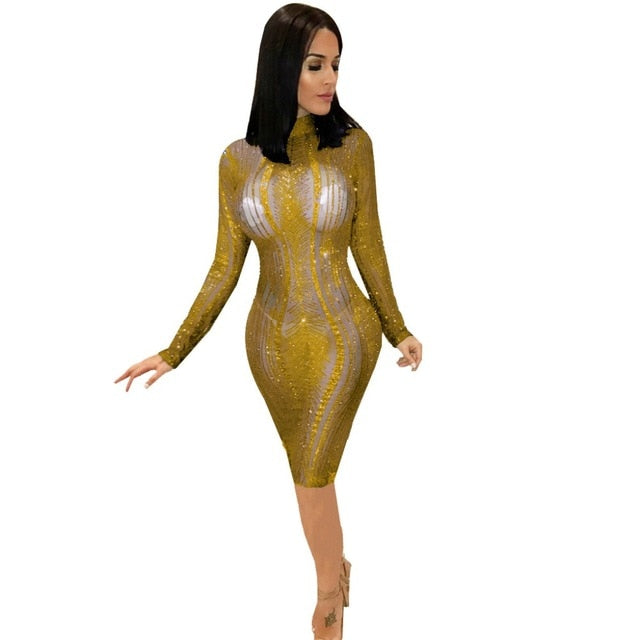 119534229f Sheer Mesh Sequins Bodycon Pencil Club Dresses Turtleneck Long Sleeve  Bandage Midi Party Dress Women Autumn Winter Outfits